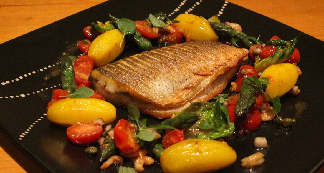 A beautiful sea bass dish for your dinner party menu