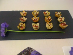 selection of canapés for corporate receptions