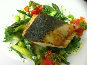 Fillet of Halibut with a panache of greens
