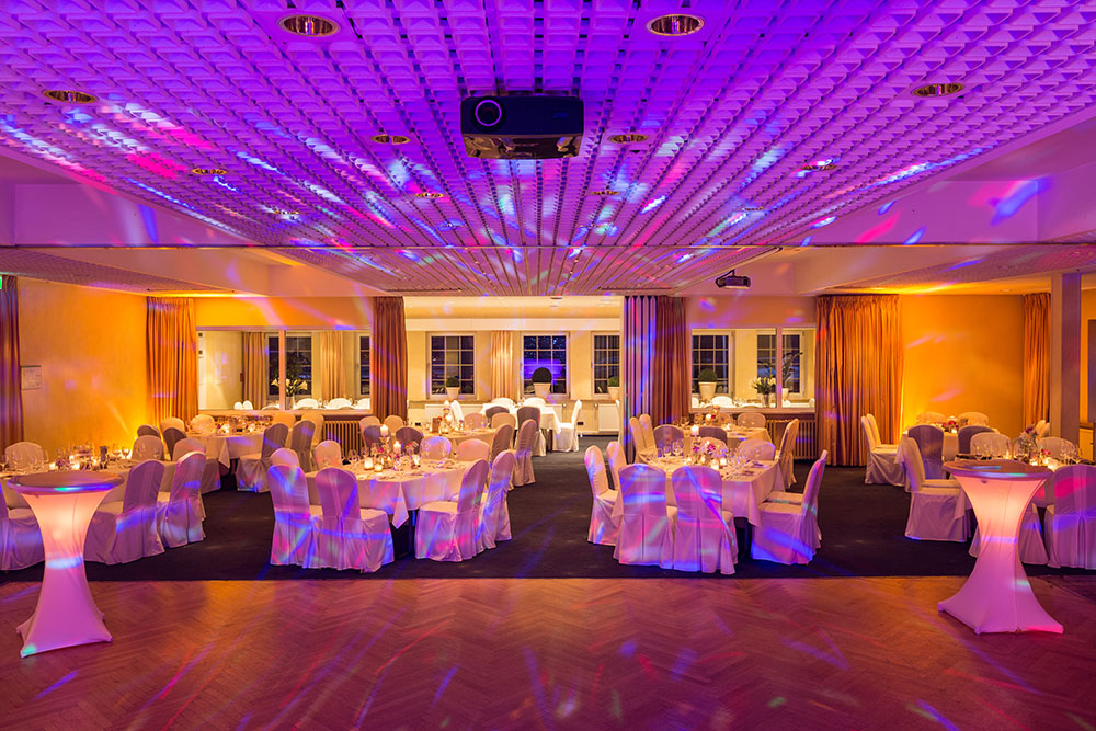 a venue set up for a party