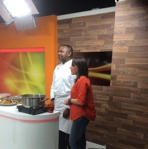 chef Jean-Luc with tv host Chrissy B