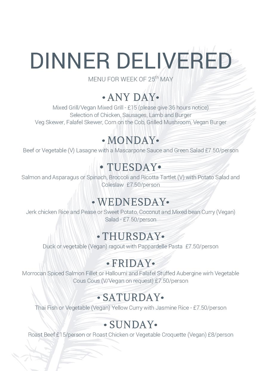 Dinner Delivered menu May 25th