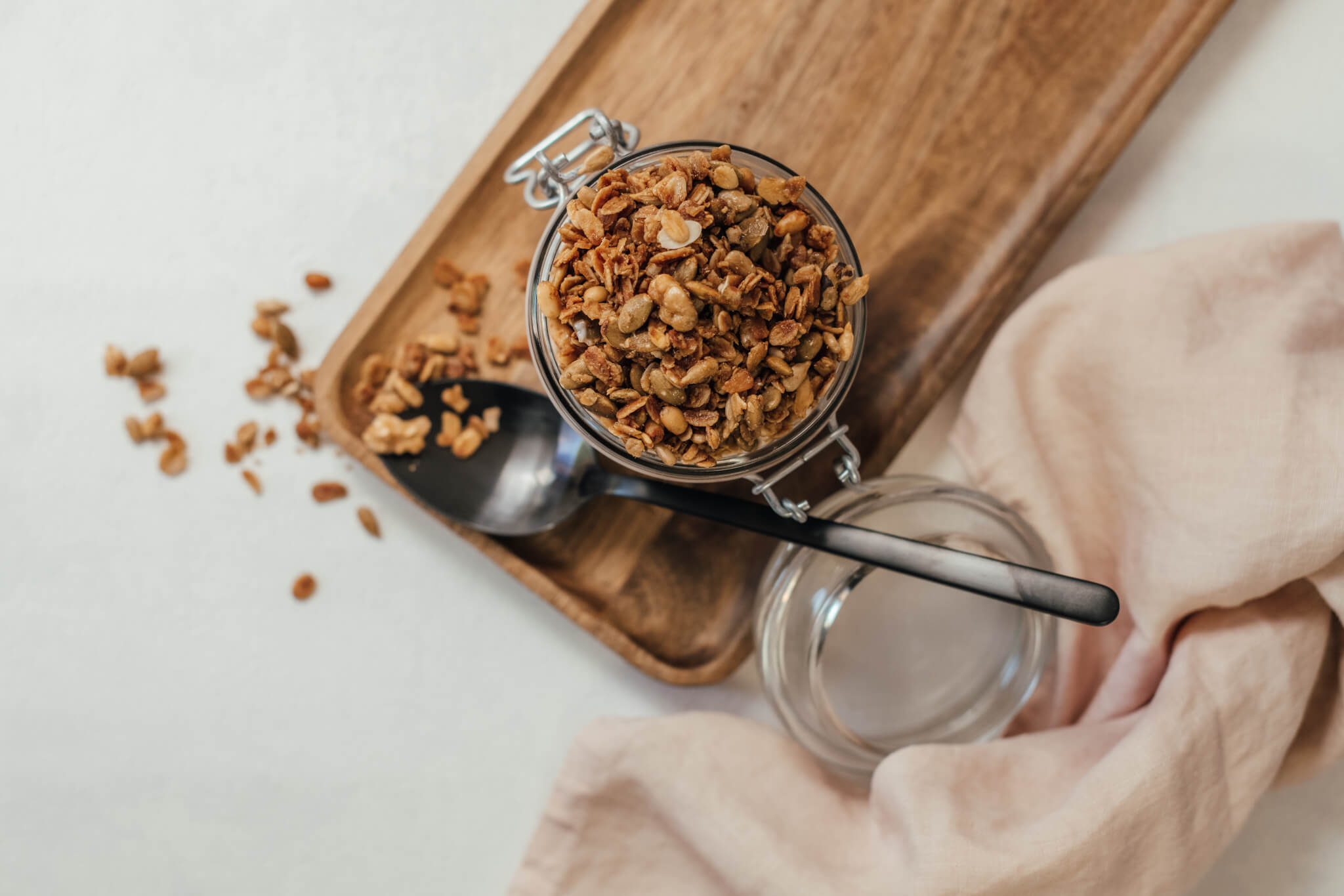 Granola Pot with spoon in table setting